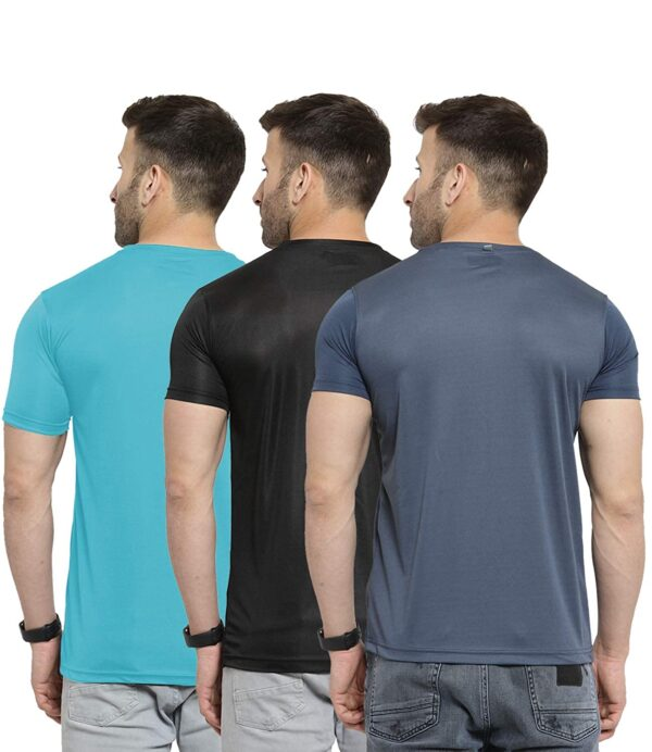 AWG Men's Light Weight Dryfit Polyester Sports Round Neck t-Shirts - Pack of 3