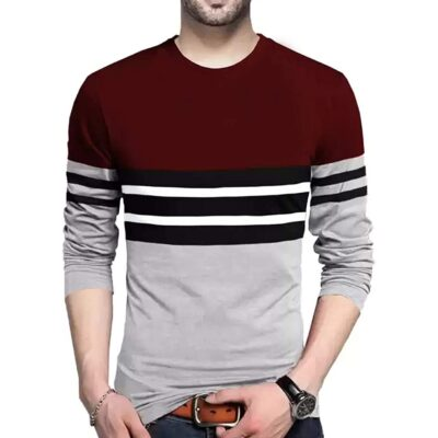 BLIVE Men's Round Neck Full Sleeves T-Shirt Multi-Coloured